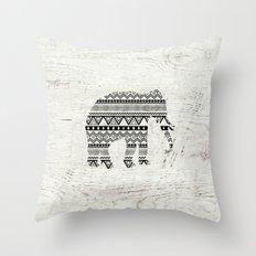 Aztec Tribal Elephant Black White Vintage Wood  Throw Pillow