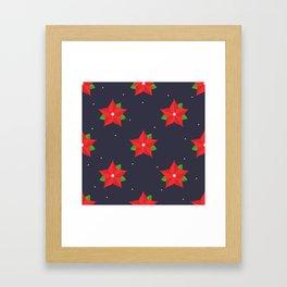 Poinsettia Christmas Pattern Framed Art Print