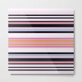 Modern Pink Black Lines Design Metal Print