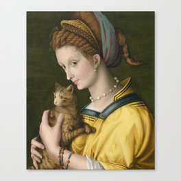 Portrait of a Young Lady Holding a Cat by Bacchiacca, 1525 Canvas Print