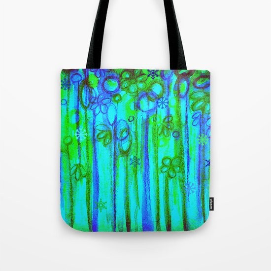 WINTER GARDEN -Bright Blue Green Neon Snowflake Floral Abstract Watercolor Painting and Digital Art Tote Bag