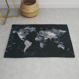 Dark Indigo Ink Marble World Map Rug