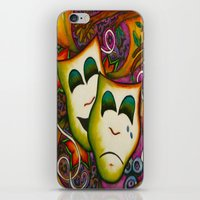 theatre iPhone & iPod Skins featuring Masks (Theatre) by Alexa Brooke Rutledge