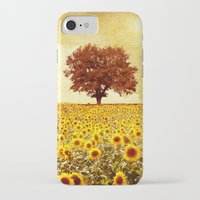 sunflowers iPhone & iPod Cases featuring lone tree & sunflowers field by Viviana Gonzalez