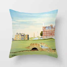 St Andrews Golf Course 18th Hole Throw Pillow
