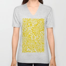 Gen Z Yellow Marigold Lino Cut Unisex V-Neck