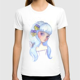 Violet Eyes Cute Girl Illustration T-shirt