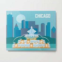 Chicago, Illinois - Skyline Illustration by Loose Petals Metal Print