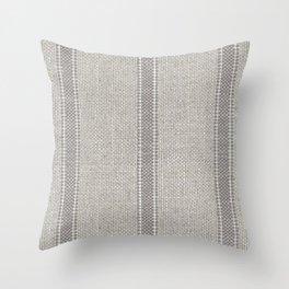 Vintage farmhouse Grain sack Stripes linen Throw Pillow