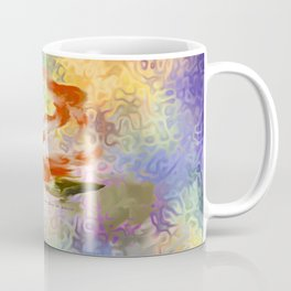 Red Rose With Psychedelic Background By Annie Zeno Coffee Mug