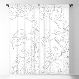 Line Art Monstera Leaves Blackout Curtain