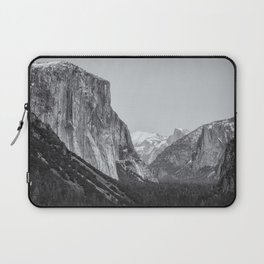 El Capitan, Half Dome and Sentinel Rock from Tunnel View bw Laptop Sleeve