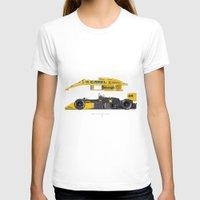 senna T-shirts featuring Outline Series N.º5, Ayrton Senna, Lotus 99T-Honda, 1987 by Ricardo Santos