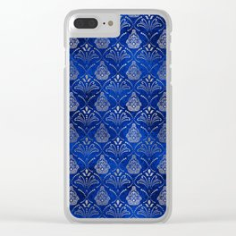 Hamsa Hand pattern -silver on blue glass Clear iPhone Case