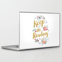 gold foil Laptop & iPad Skins featuring Keep On Reading Gold Foil by Evie Seo