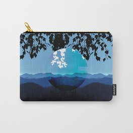 Mountains and Leaves in Blue and Black Carry-All Pouch