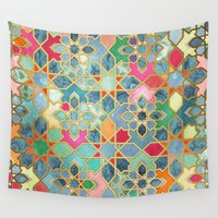 moroccan Wall Tapestries featuring Gilt & Glory - Colorful Moroccan Mosaic by micklyn