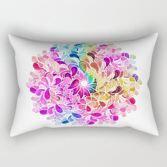 Rainbow Watercolor Paisley Floral Rectangular Pillow