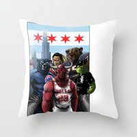 chicago bulls Throw Pillows featuring Chicago Sports by Carrillo Art Studio