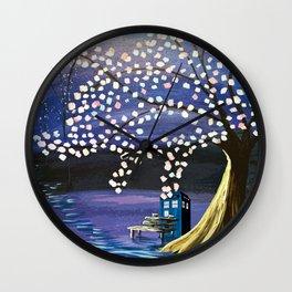 Tardis With Blossom Tree Art Painting Wall Clock