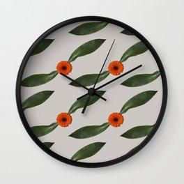 Retro Leaf and Orange Gerbera Floral Pattern Wall Clock