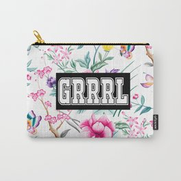 GRRRL - white floral pattern Carry-All Pouch