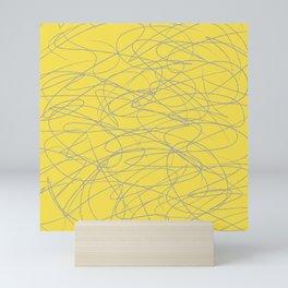 Hand Drawn Scribbles (Ultimate Gray and Pantone Illuminating Yellow) Mini Art Print