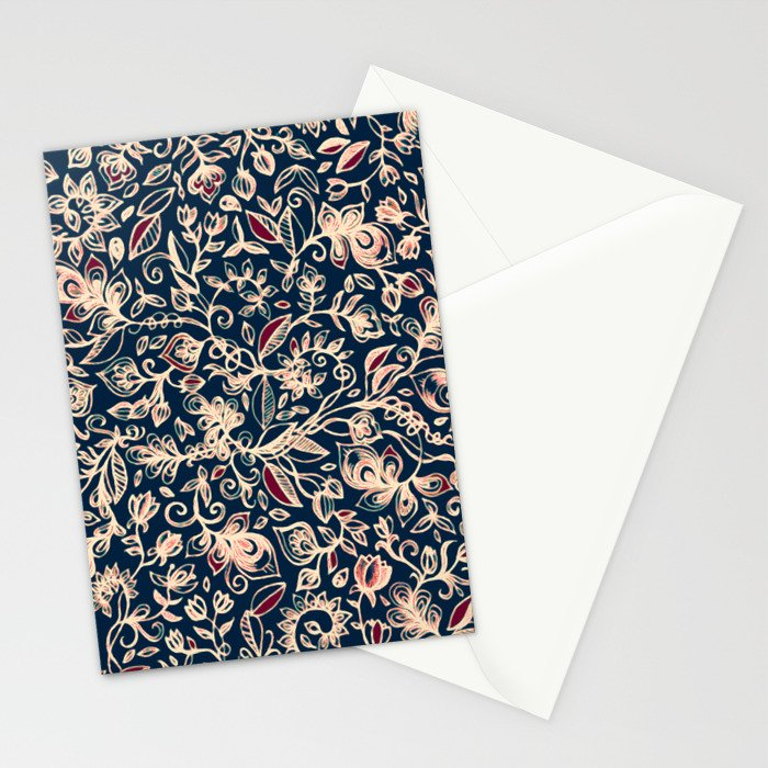 Navy Garden - floral doodle pattern in cream, dark red & blue Stationery Cards