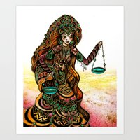 astrology Art Prints featuring Astrology Illustration Series-Libra by Erina Dempsey