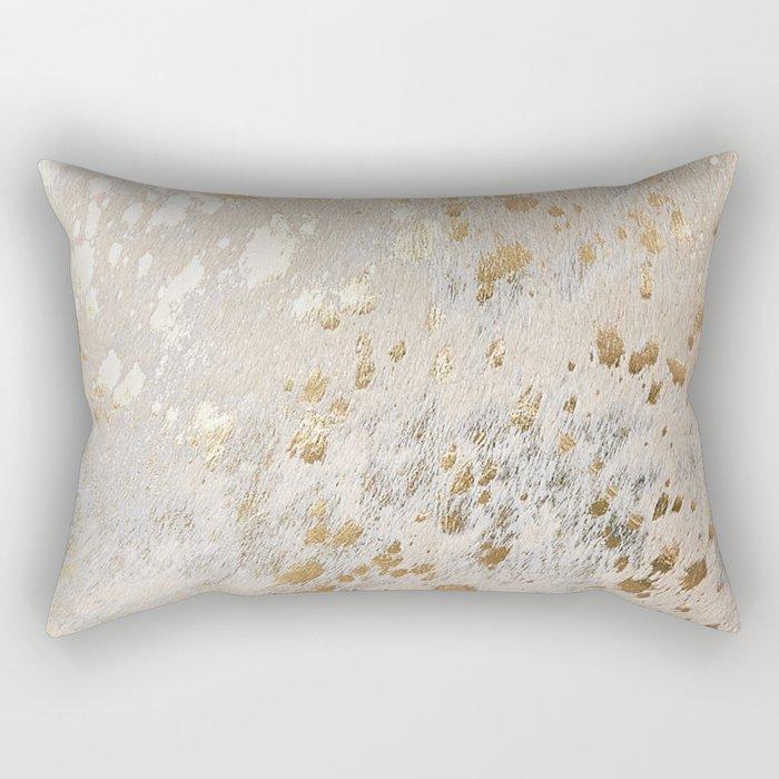 Gold Hide Print Metallic Rectangular Pillow