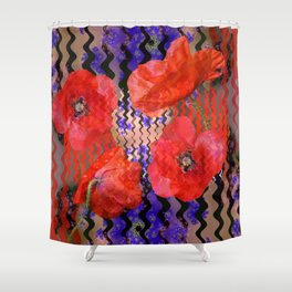 Summer Joy, abstract waves with poppies Shower Curtain