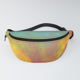 Cheerful  Yellow Orange and Blue Abstract Fanny Pack