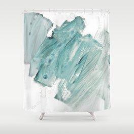 brushstrokes 11 aquamarine Shower Curtain