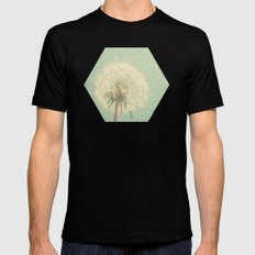 Dandelion Clock Black Mens Fitted Tee SMALL