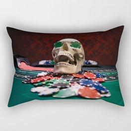 skull at Black Jack table Rectangular Pillow