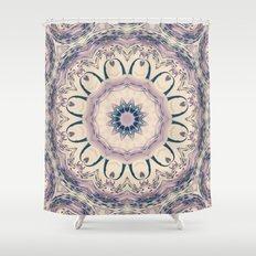 Rue des Glycines -- Vintage Cream and Lavender Purple Mandala Shower Curtain
