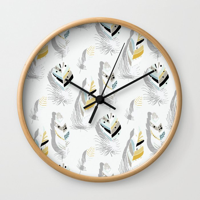 Feathers White #homedecor Wall Clock