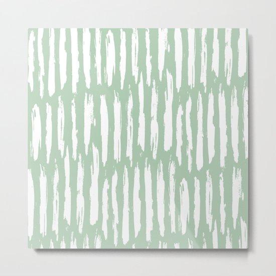 Vertical Dash Stripes White on Pastel Cactus Green Metal Print