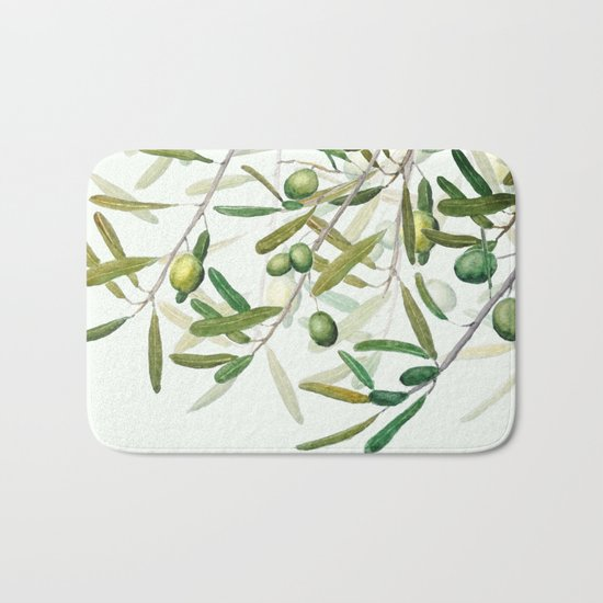 Green Olive watercolor painting Bath Mat
