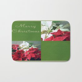 Mixed color Poinsettias 3 Merry Christmas Q5F1 Bath Mat