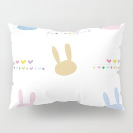 Cute bunny or rabbit and colorful easter pattern with hearts Pillow Sham