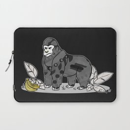 Gorilla & Bananas,Funny Wild Animal Graphic,Black & White with Brass Gold Metallic Accent Cartoon Laptop Sleeve