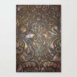 Golden Brown Carved Tooled Leather Canvas Print