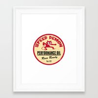 decal Framed Art Prints featuring Hot Rod Retro Decal by Pixel Villain