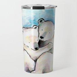 Polar Bear Cubs Watercolour Travel Mug