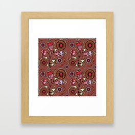 Bright  stylized flowers on a brown background. Framed Art Print