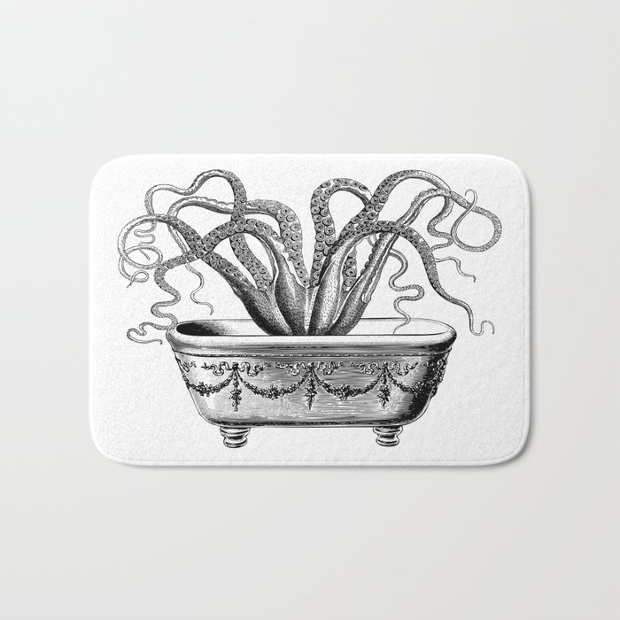 Tentacles in the Tub | Octopus in Bath | Vintage Octopus | Black and White | Bath Mat