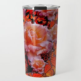 Monarch Butterflies & Old Roses Montage Art Travel Mug