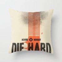 die hard Throw Pillows featuring Die Hard (Full poster variant) by Wharton