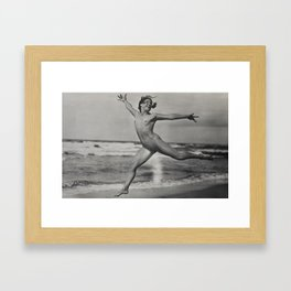 Victorian Vintage Posing Lady Erotic French Nude On Beach Framed Art Print